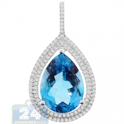 Womens Topaz Diamond Teardrop Pendant 14K White Gold 14.62ct