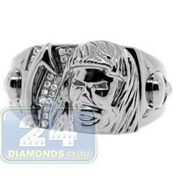 Black PVD 14K Gold 0.06 ct Diamond Mens Jesus Devil Ring