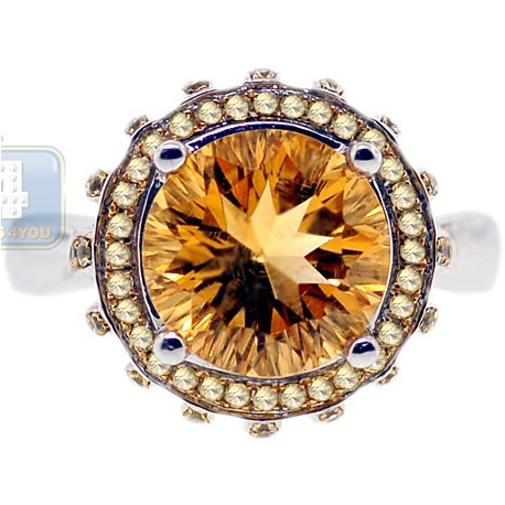 14K White Gold 3.22 ct Yellow Citrine Fancy Diamond Womens Cocktail Ring