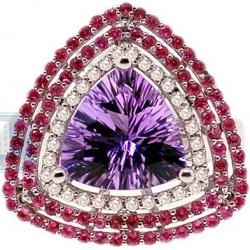 14K White Gold 3.53 ct Amethyst Ruby Diamond Triple Halo Ring