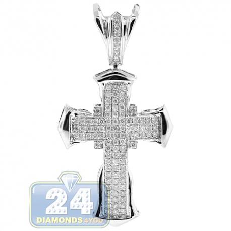 Mens Diamond Pave Puff Cross Pendant 14K White Gold 1.20ct