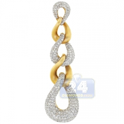 14K Yellow Gold 2.04 ct Diamond Curb Link Dangling Pendant