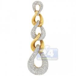 14K Yellow Gold 2.04 ct Diamond Curb Link Dangling Pendant