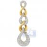 Womens Diamond Curb Link Dangling Pendant 14K Yellow Gold 2.04ct