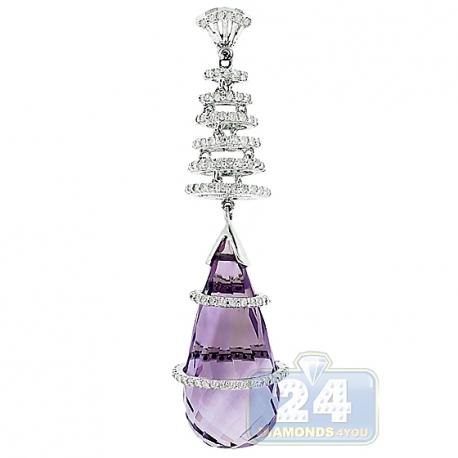 Womens Amethyst Diamond Teardrop Pendant 14K White Gold 12.26ct
