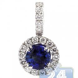 Womens Diamond Blue Sapphire Drop Pendant 18K White Gold 1.52ct