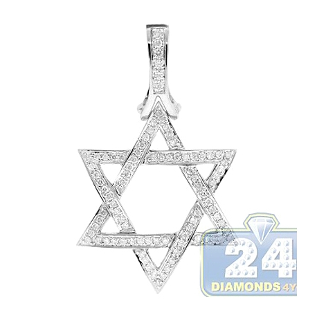 Mens Diamond Star of David Jewish Pendant 14K White Gold 1.20ct
