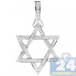 14K White Gold 1.20 ct Diamond Star of David Jewish Pendant