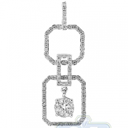 14K White Gold 0.88 ct Diamond Open Octagon Women Pendant