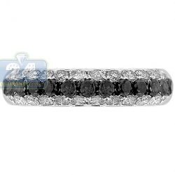 14K White Gold 1.43 ct Black 3 Row Diamond Womens Band Ring