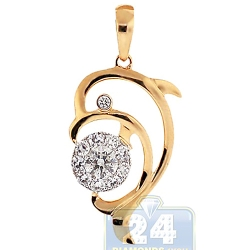 14K Yellow Gold 0.58 ct Diamond Dolphin Womens Pendant