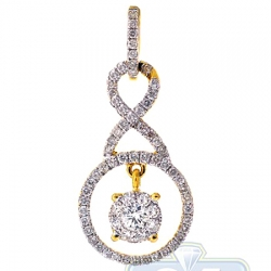 14K Yellow Gold 0.77 ct Diamond Womens Infinity Drop Pendant