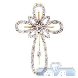 14K Yellow Gold 0.92 ct Diamond Halo Cross Mens Pendant