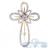 Mens Diamond Halo Vintage Cross Pendant 14K Yellow Gold 0.92ct