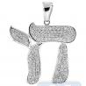 Mens Diamond Chai Symbol Jewish Pendant 14K White Gold 1.36ct