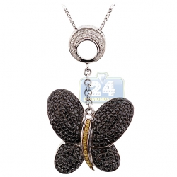 14K White Gold 1.37 ct Black Diamond Womens Butterfly Pendant