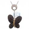 Womens Black Diamond Butterfly Pendant 14K White Gold 1.37ct