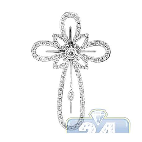 Mens Diamond Halo Vintage Cross Pendant 14K White Gold 0.91ct