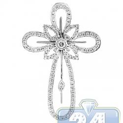 14K White Gold 0.91 ct Diamond Halo Cross Mens Pendant