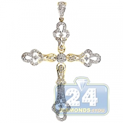 14K Yellow Gold 1.17 ct Diamond Vintage Style Cross Pendant