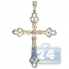 Mens Diamond Vintage Style Cross Pendant 14K Yellow Gold 1.17ct