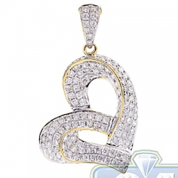 14K Yellow Gold 1.21 ct Diamond Open Heart Womens Pendant