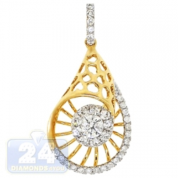 14K Yellow Gold 0.94 ct Diamond Evil Eye Womens Drop Pendant