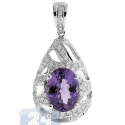 Womens Purple Amethyst Diamond Teardrop Pendant 14K White Gold