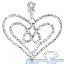 Womens Diamond Layered Open Heart Pendant 14K White Gold 1.04ct