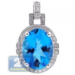 Womens Diamond Blue Topaz Drop Pendant 18K White Gold 11.86ct