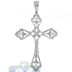 14K White Gold 0.89 ct Diamond Filigree Cross Mens Pendant
