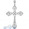 Mens Diamond Filigree Cross Pendant 14K White Gold 0.89ct