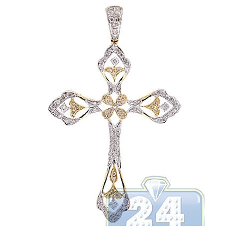 Mens Diamond Filigree Cross Pendant 14K Yellow Gold 0.89ct