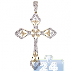 14K Yellow Gold 0.89 ct Diamond Filigree Cross Mens Pendant