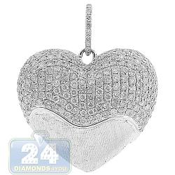 Womens Diamond Puff Heart Love Pendant 14K White Gold 1.10ct