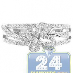 14K White Gold 0.56 ct Diamond Womens Openwork Butterfly Ring