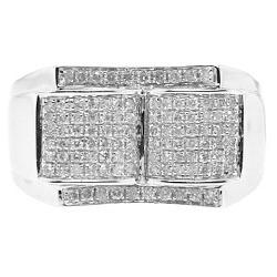 14K White Gold 0.74 ct Diamond Mens Embossed Signet Ring