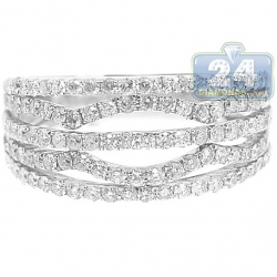 14K White Gold 1 ct Diamond Multirow Openwork Band Ring
