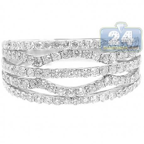 14K White Gold 1 ct Diamond Multirow Womens Openwork Band Ring