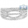 14K White Gold 1 ct Diamond Multirow Womens Openwork Band Ring