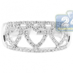 14K White Gold 0.33 ct Diamond Triple Heart Openwork Ring