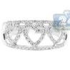 14K White Gold 0.33 ct Diamond Triple Heart Openwork Band Ring