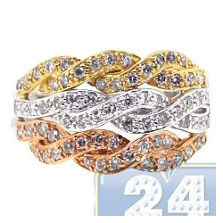 14K Three Tone Gold 0.84 ct Diamond Braided Triple Band Ring
