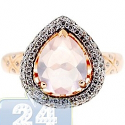 14K Rose Gold 3.11 ct Pink Quartz Diamond Womens Cocktail Ring