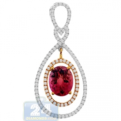 Womens Pink Tourmaline Diamond Drop Pendant 14K Two Tone Gold