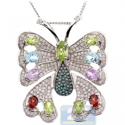 Womens Gemstone Diamond Butterfly Pendant 14K White Gold 6.90ct