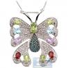 Womens Gemstone Diamond Butterfly Pendant 14K White Gold 6.90ct
