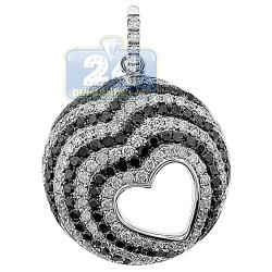 Womens Black Diamond Heart Round Pendant 14K White Gold 1.26ct
