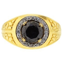 14K Yellow Gold 2.45 ct Black Diamond Solitaire Halo Mens Ring