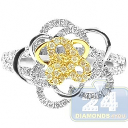 14K Two Tone Gold 0.70 ct Diamond Womens Rose Flower Ring